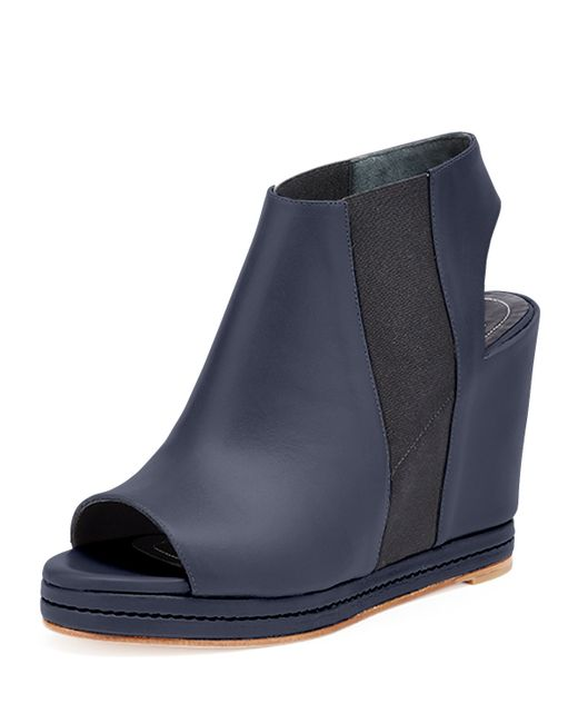 balenciaga open toe leather wedge boots in black lyst