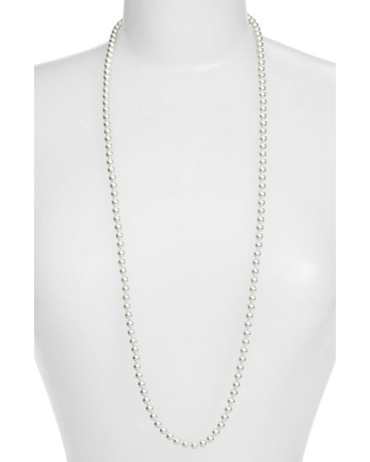 Nadri | Metallic Faux Pearl Long Necklace | Lyst