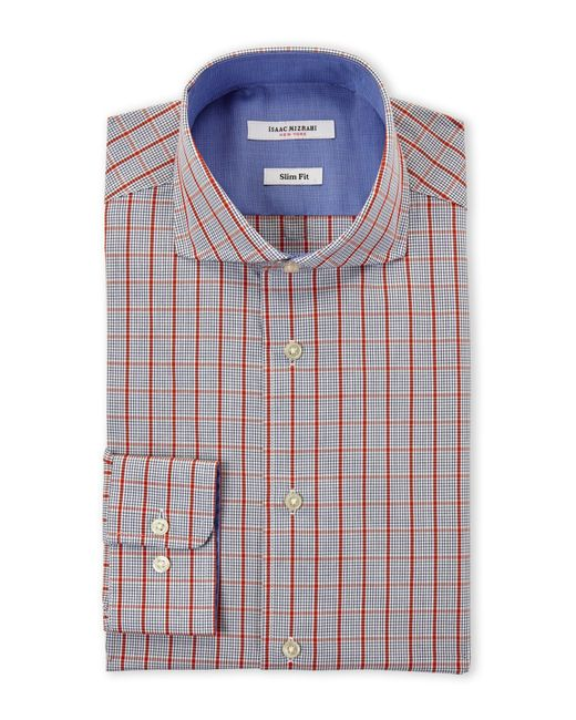 Isaac mizrahi new york orange blue windowpane check slim for Blue check dress shirt