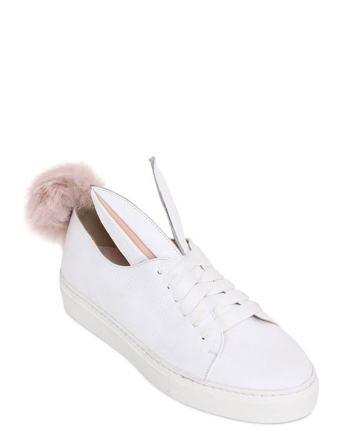 Minna Parikka | White Leather Bunny Ears & Faux Fur Tail Sneakers - White | Lyst