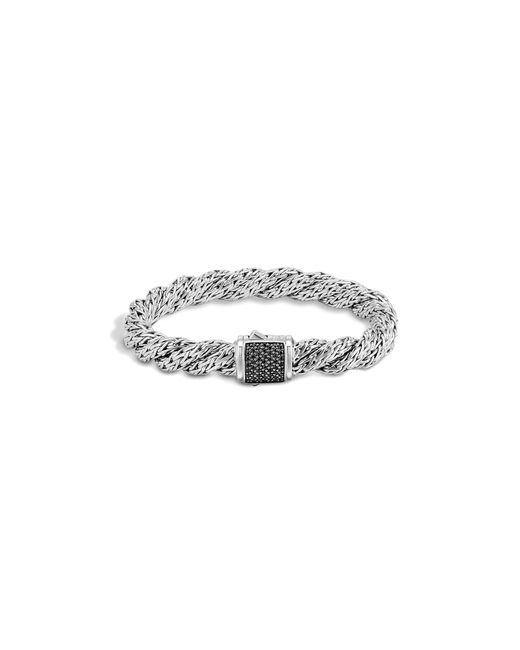 John Hardy | Metallic Classic Chain Sterling Silver Lava Medium Flat Twisted Chain Bracelet With Black Sapphire | Lyst