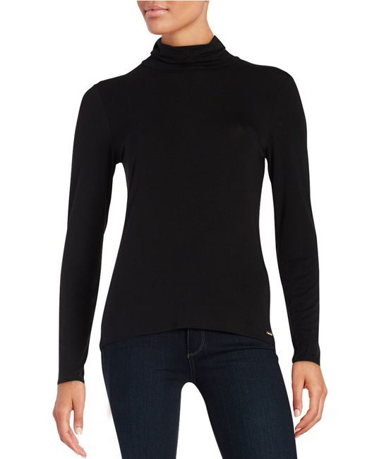 Calvin Klein | Black Turtleneck Jersey Knit Top | Lyst
