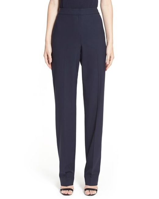 St. John | Blue Diana Tropical Stretch-Wool Pants | Lyst