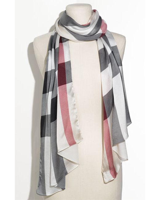 burberry check print silk scarf in gray trench check lyst