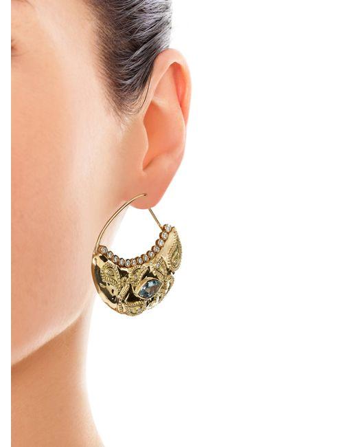 Aurelie Bidermann   Yellow Cashmere Aqua Marina And Diamonds Earrings   Lyst