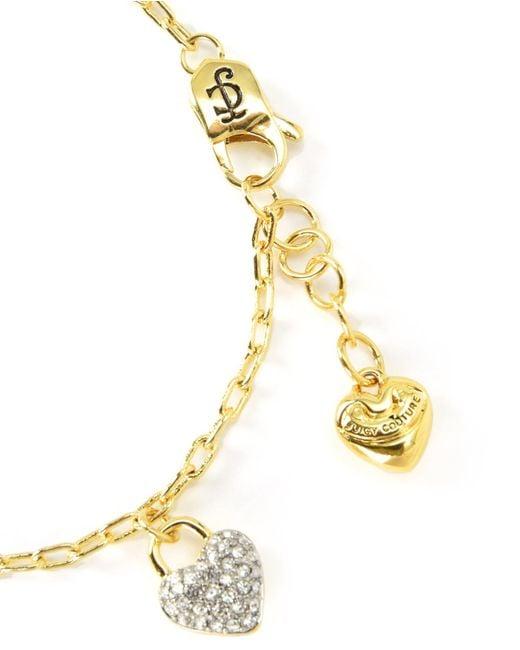 Juicy Couture | Metallic Jc Pave Heart Charm Bracelet | Lyst