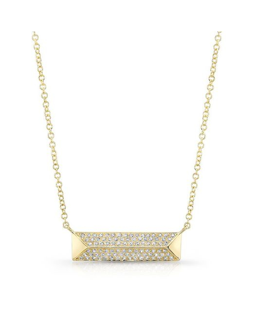 Anne Sisteron - 14kt Yellow Gold Diamond Pyramid Bar Necklace - Lyst
