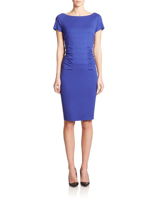 ESCADA | Blue Short-sleeve Vertical Seam Sheath Dress | Lyst
