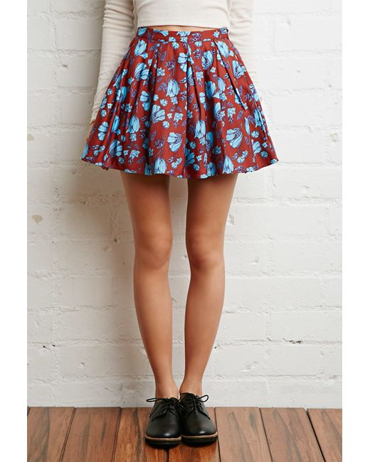 Forever 21 | Blue Pleated Floral Skirt You've Been Added To The Waitlist | Lyst