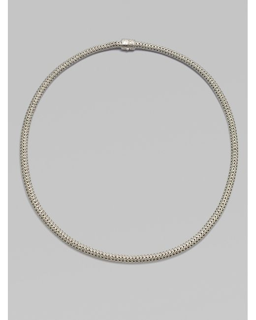 John Hardy | Metallic Classic Chain Diamond & Sterling Silver Extra-small Necklace/18 | Lyst