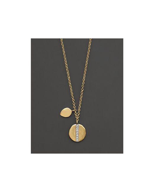 "Meira T   Metallic 14k Yellow Gold Diamond Line Pendant Necklace, 16""   Lyst"