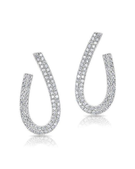 Anne Sisteron - Metallic 14kt White Gold Diamond Curve Earrings - Lyst