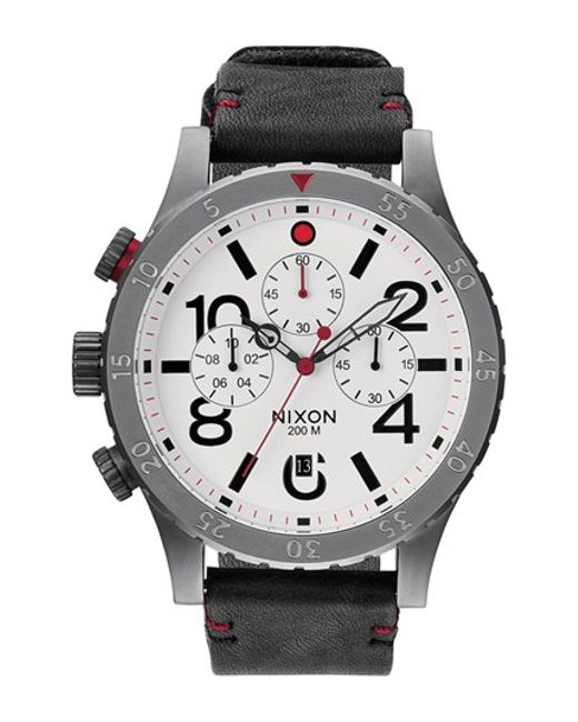 Nixon | Black 'the 48-20' Chronograph Leather Strap Watch for Men | Lyst