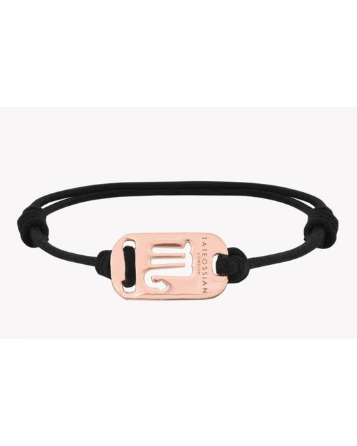 Tateossian | Pink Zodiac 18k Rose Gold Scorpio Black Waxed Cord Bracelet for Men | Lyst