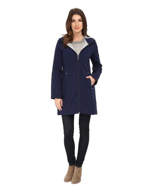 Calvin Klein | Blue Zip Front Soft Shell Coat W/ Jersey Lining | Lyst