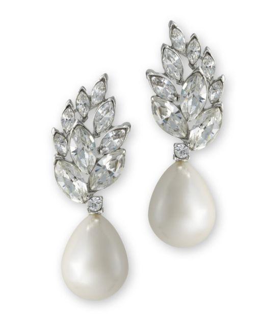 Kenneth Jay Lane | Metallic Pearl Teardrop Pierced Earring | Lyst