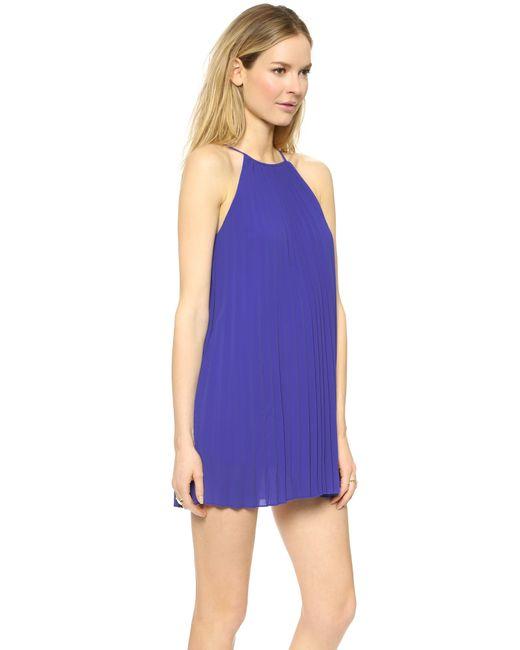 Line & Dot | Blue Pleated Mini Dress | Lyst