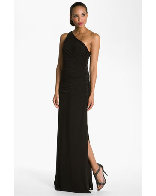 Laundry by Shelli Segal   Black Beaded Panel One-shoulder Jersey Gown   Lyst