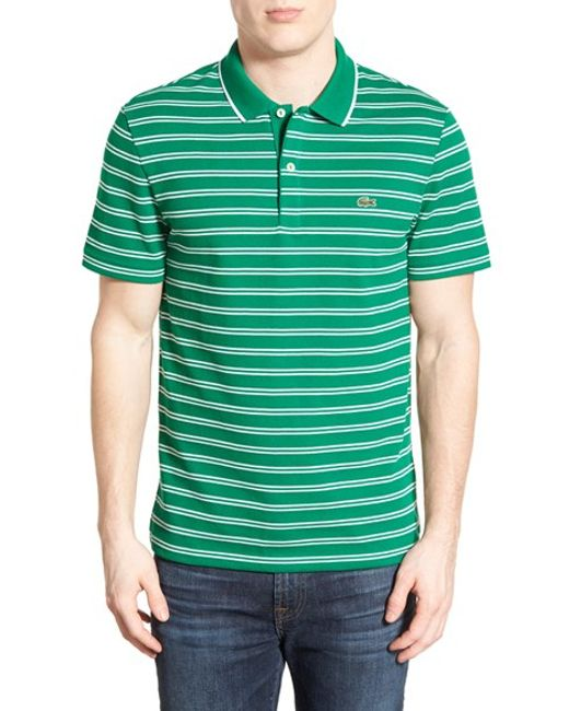 Lacoste stripe jersey pique polo in green for men yucca for Lacoste stripe pique polo shirt