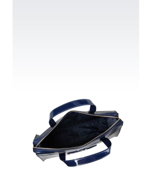 Armani Jeans | Blue Bauletto Bag In Faux Patent Leather With Charm | Lyst