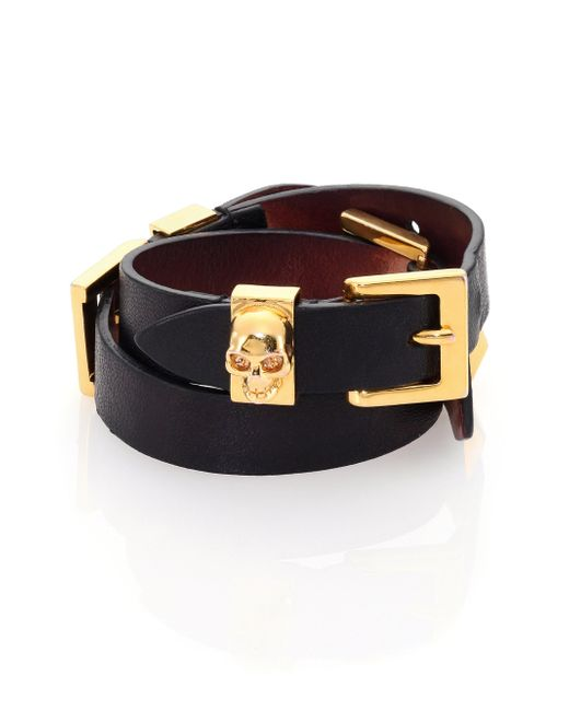 Alexander McQueen | Black Leather Three-row Wrap Bracelet | Lyst