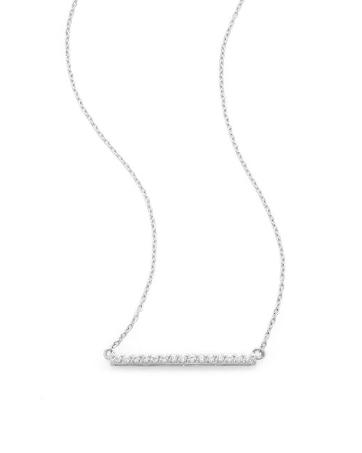 Ak Anne Klein | Metallic Sterling Silver Pavé Bar Pendant Necklace | Lyst