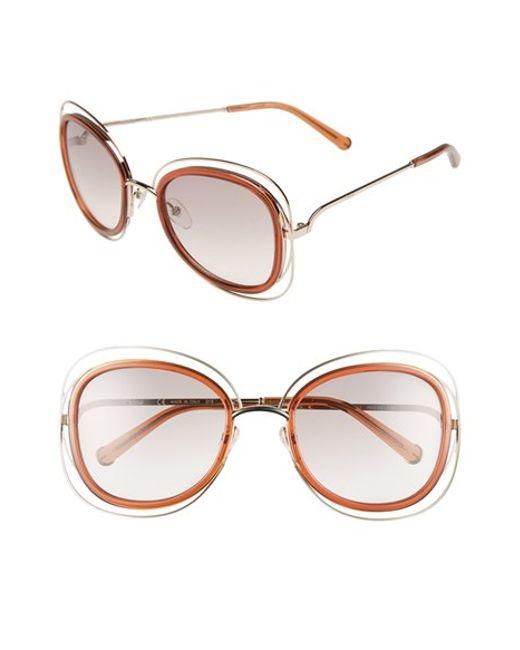 Chloé | Metallic 'carlina' 56mm Gradient Sunglasses | Lyst