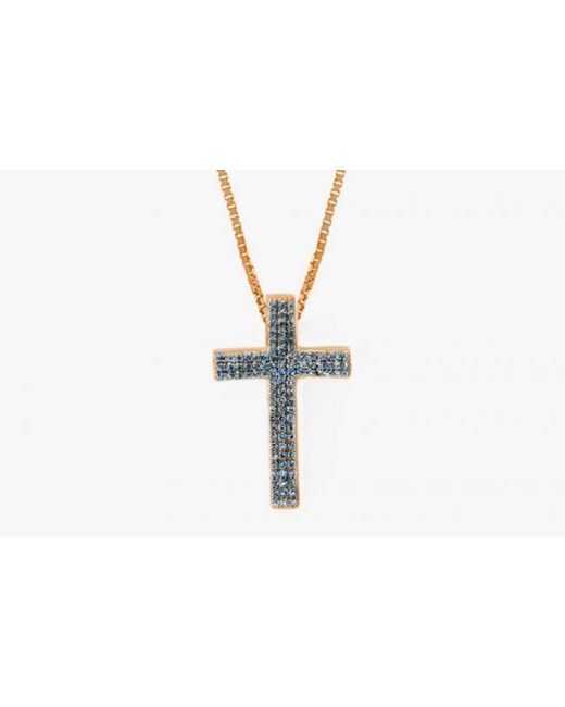 Tateossian | Precious Cross Micro Pavé Necklace In 18k Rose Gold With 46 0.6ct Blue Sapphires for Men | Lyst