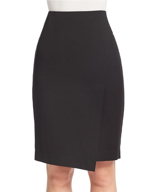 Lord & Taylor | Black Petite Solid Wrap Pencil Skirt | Lyst