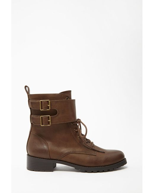 Forever 21   Brown Buckled Faux Leather Boots   Lyst