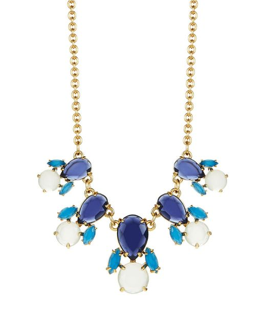 kate spade new york | Blue Floral Stone And Faux Pearl-accented Necklace | Lyst