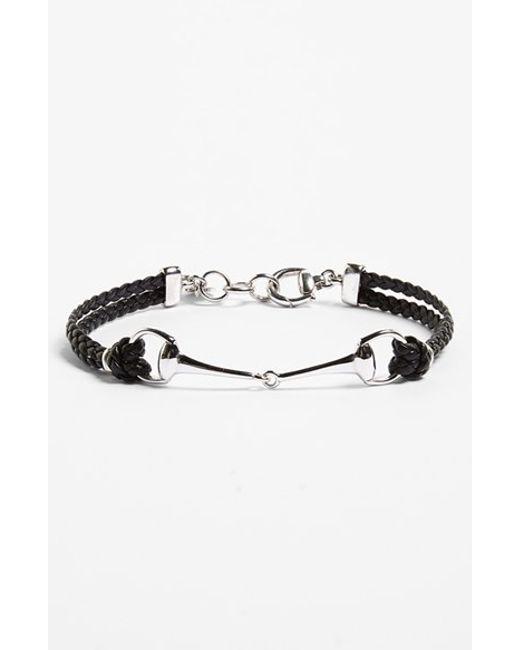 Gucci | Black 'horsebit' Leather Bracelet for Men | Lyst