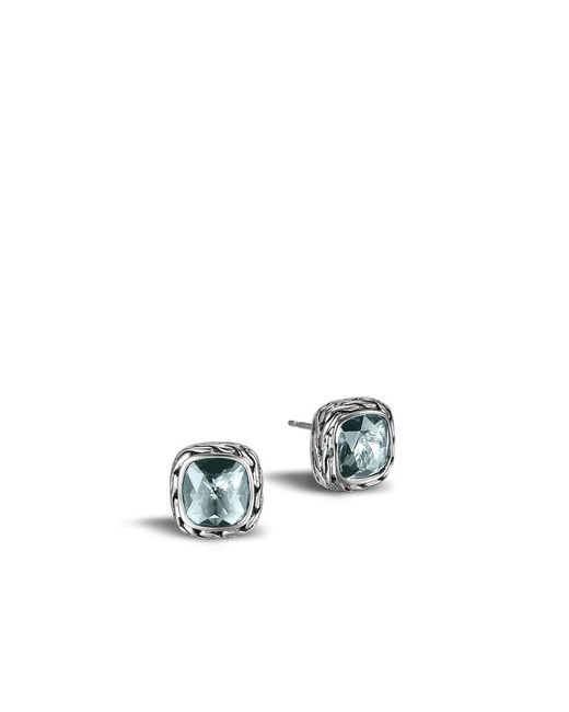 John Hardy | Classic Chain Stud Earring With Sky Blue Topaz | Lyst