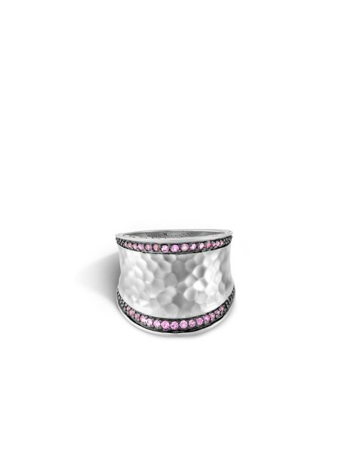 John Hardy | Metallic Classic Chain Hammered Saddle Ring With Pink Sapphire | Lyst