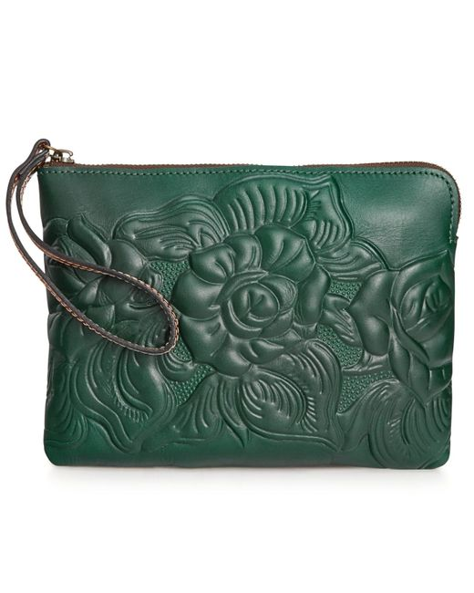 Patricia Nash Tooled Rose Cassini Wristlet In Green