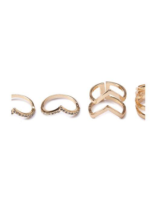 Forever 21   Metallic Cutout Chevron Ring Set   Lyst