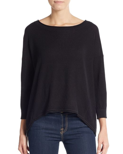 French Connection | Black Otter Lace-inset Sweater | Lyst