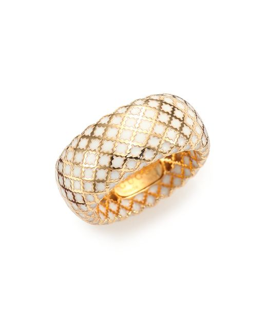 Gucci | Metallic Diamantissima Enamel & 18k Yellow Gold Band Ring | Lyst