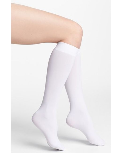 DKNY | White Opaque Microfiber Knee Highs | Lyst