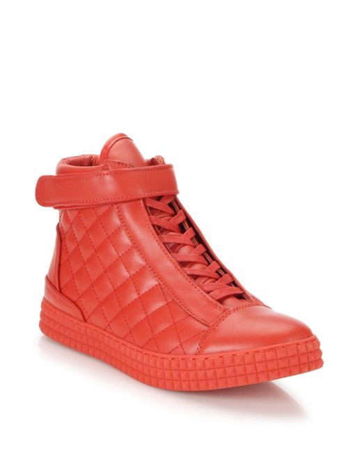 Susudio | Red Diamond Quilted Leather High-top Sneakers for Men | Lyst
