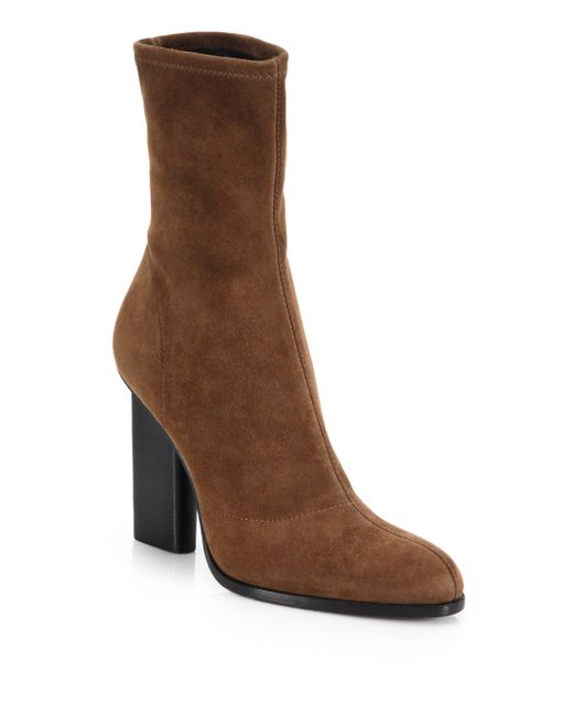 wang stretch suede ankle boots in brown