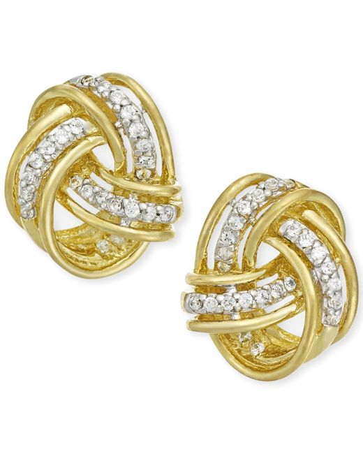 Macy's | Metallic Diamond Love Knot Stud Earrings In 10k Gold (1/5 Ct. T.w.) | Lyst