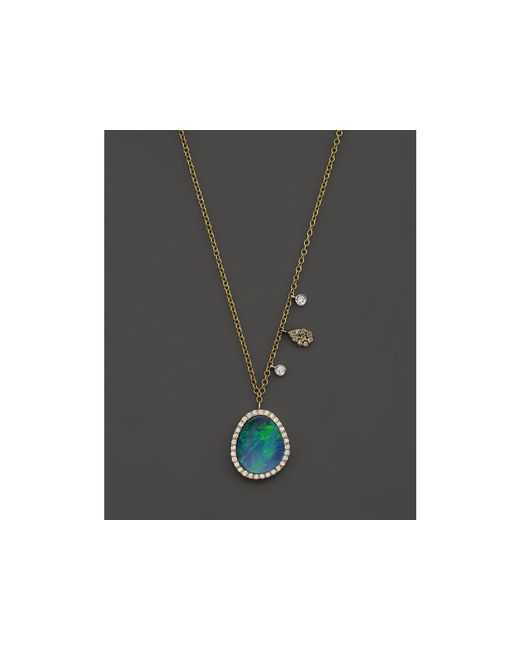 """Meira T   Metallic 14k Yellow Gold Opal Pendant Necklace With Diamonds, 16""""   Lyst"""