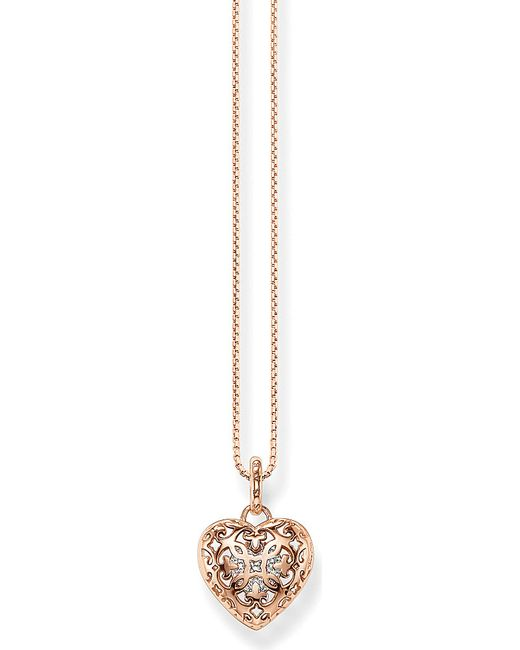Thomas Sabo | Metallic Cut-out Heart Locket Sterling Silver Rose Gold-plated Necklace | Lyst