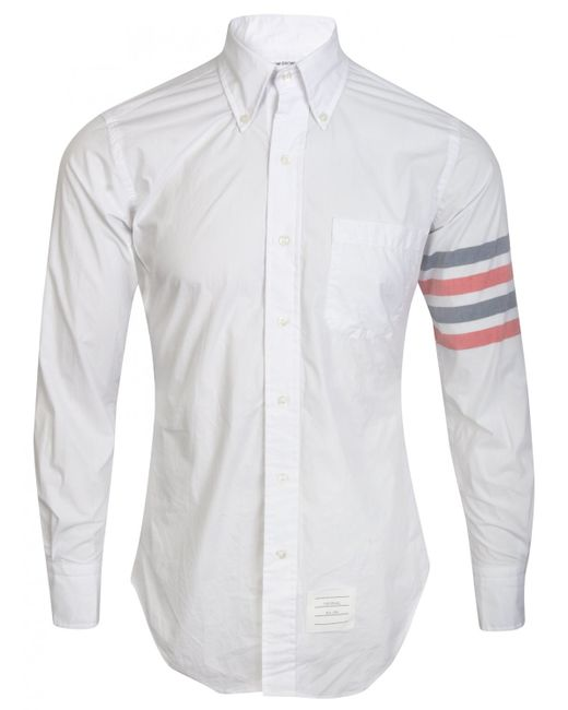 Thom browne white button down oxford shirt with stripe for Mens white oxford button down shirt