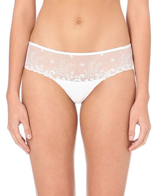 Simone Perele | White Délice Embroidered Stretch-tulle Shorty Briefs | Lyst