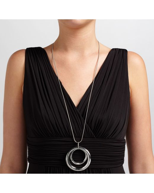 John Lewis | Metallic Cut Out Circle Long Necklace | Lyst