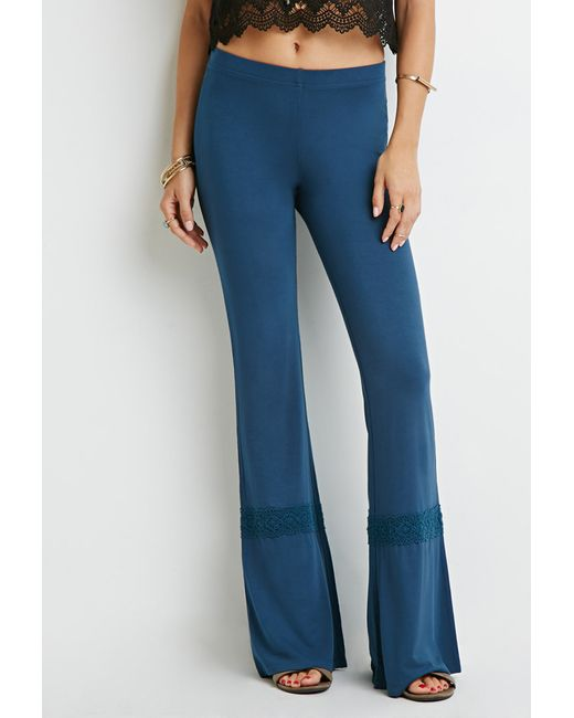 Forever 21   Blue Crochet-trimmed Wide-leg Pants   Lyst