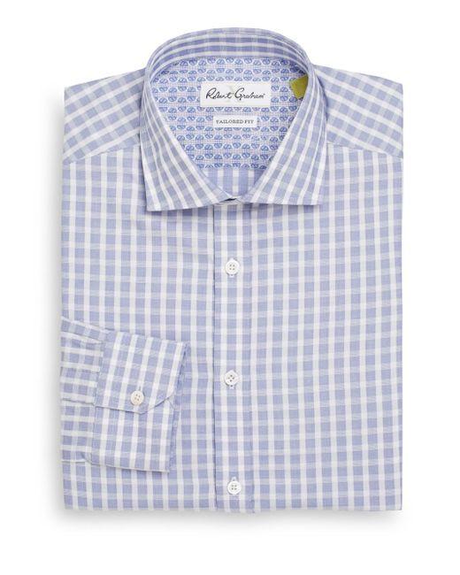 Robert Graham | Blue Tailored-fit Dobby Check Cotton Dress Shirt for Men | Lyst