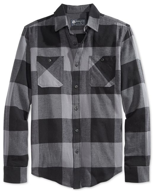 American Rag | Black Frosty Flannel Shirt for Men | Lyst
